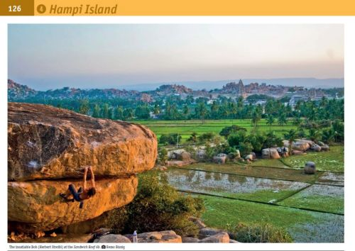 Bouldering in Hampi.  Image from Guidebook Hampi Gerald Krug, Christiane Hupe Halle, 2013/14 ISBN 978-3-00-041342-1