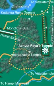 Location map for Achyuta Raya's Temple