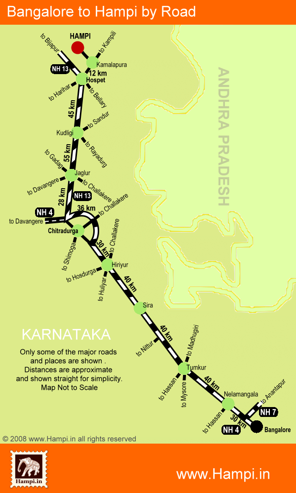 Route map showing the driving directions from Bangalore to Hampi