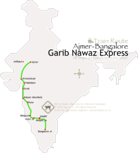 Garib Nawaz Express route map