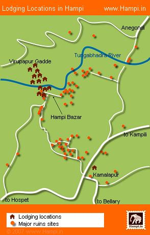 Most of the Hampi's lodgings are located around the Hampi Bazaar area, Virupapur Gade and Kamalapura.