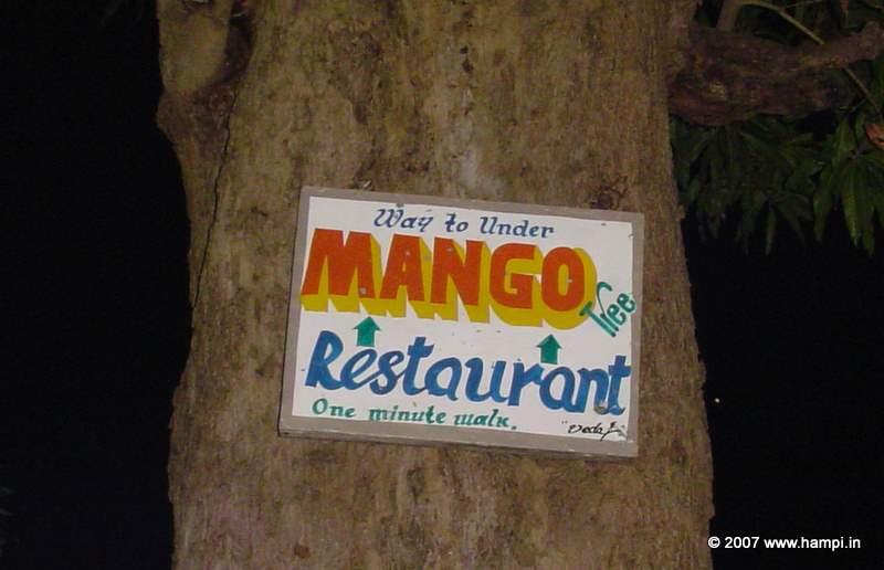 Signboard to the popular Mango Tree restaurant in Hampi