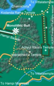 Location map for Monolithic Bull shrine at Hampi Bazaar