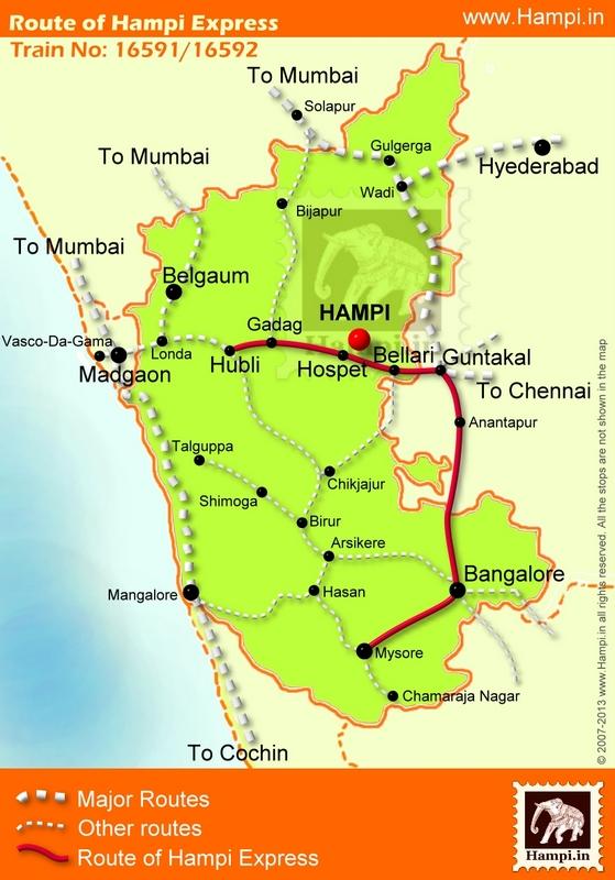 Bangalore To Mysore Route Map Hampi Express Route map ✤ Hampi Express Route map. Hampi express