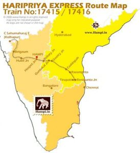 Haripriya Express connects Tirupati with Kolhapur. Try this train to travel from Chennai to Hampi