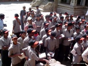 A batch of school students at Virupaksha Temple