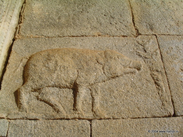 The Varaha image on the temple wall of the Varaha Temple that brought the name. This is the Insignia used by the Vijayanagara kings. The Insignia consist of the boar (varaha), dagger , moon (over the dagger) and the sun (not seen in this image).
