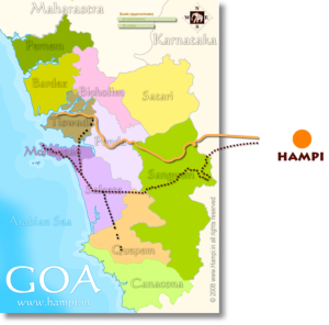 Goa to Hampi route map