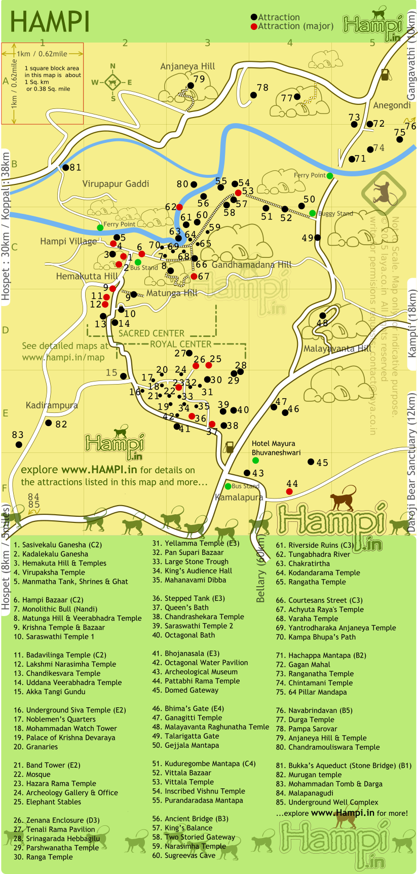 Map show the location of various monuments in Hampi