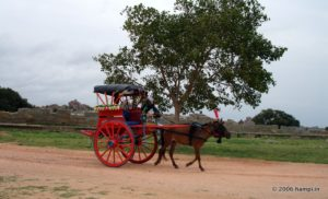 Tonga (pony cart) is a popular way to travel between the Hampi Bazaar - Royal Center - Vittala Temple route.