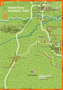 Map showing : Archeological Museum, Basement of Palaces, Bhima's Gate, Bhojanasala, Chandrashekara Temple, Dannayaka Enclosure, Domed Gateway, Elephant Stables, Fortified Walls, Ganagitti Temple, Granaries, Hazara Rama Temple, Horse Stable, Jaina Temple, Lotus Mahal, Malyavanta Hill, Octagonal Bath, Octagonal Water Pavilion, Pattabhi Rama Temple, Pattanada Yellamma Temple, Queen's Bath, Ranga Temple, Rockcut Shrine, Royal Enclosure, Saraswathi Temple, Srinagarada Hebbagilu, Tenali Rama Pavilion, Zenana Enclosure