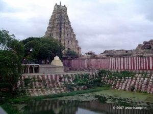 Tower of the Virupaksha Temple and the Manmantha Tank
