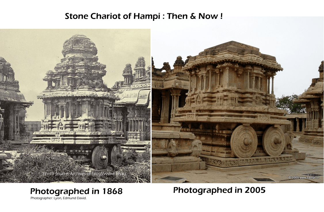 The terracotta made superstructure of the Stone Chariot has crashed or was pulled down for some mysterious reasons, probably to save the rest form collapsing. Most likely this happened during the colonial period when the conservation efforts were made under the Madras Presidency.    The old photographs taken by Greenlaw, Lyton etc give a good idea of the changes that happened to these structures on a century.