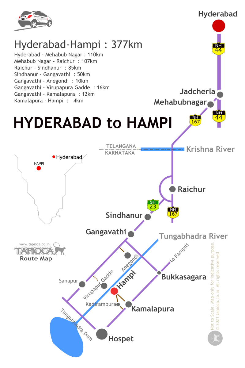 Hyderabad to Hampi Road Route